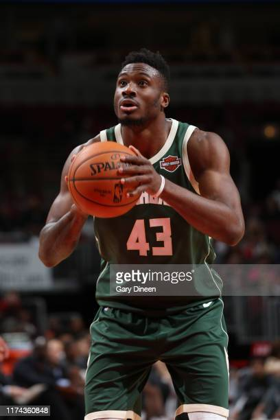 Thanasis Antetokounmpo of Milwaukee Bucks shoots free throws against the Chicago Bulls on October 7 2019 at the United Center in Chicago Illinois...