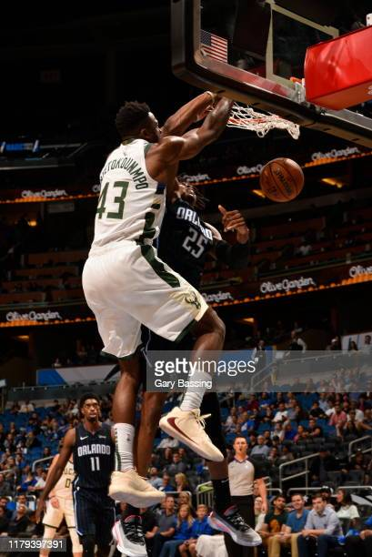 Thanasis Antetokounmpo of the Milwaukee Bucks dunks the ball against the Orlando Magic on November 1 2019 at Amway Center in Orlando Florida NOTE TO...