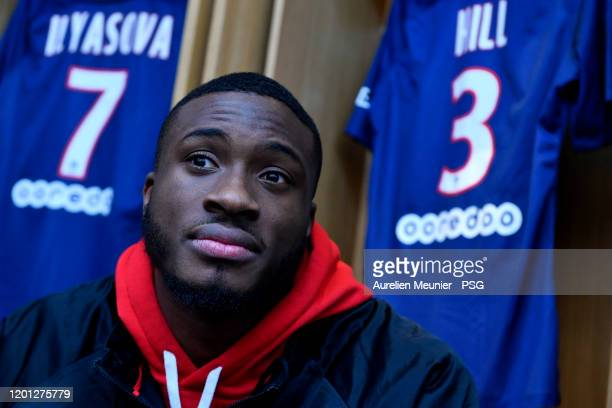 Thanasis Antetokounmpo of the Milwaukee Bucks sits in the Paris SaintGermain locker room as they attends a team visit at Parc des Princes on January...