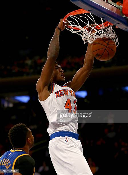 Thanasis Antetokounmpo of the New York Knicks dunks the ball in the fourth quarter against the Golden State Warriors at Madison Square Garden on...