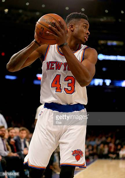 Thanasis Antetokounmpo of the New York Knicks looks to pass in the fourth quarter against the Phoenix Suns at Madison Square Garden on January 29...