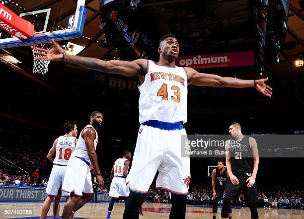Thanasis Antetokounmpo of the New York Knicks plays defense against the Phoenix Suns on January 29 2016 at Madison Square Garden in New York City New...
