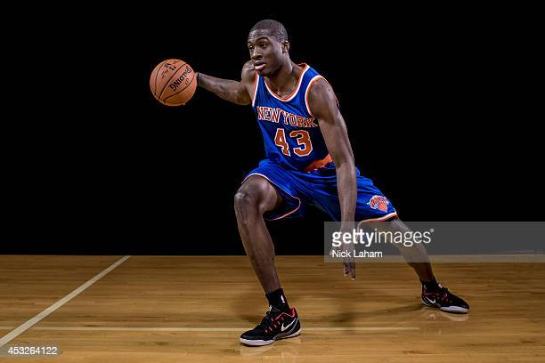 Thanasis Antetokounmpo of the New York Knicks poses for a portrait during the 2014 NBA rookie photo shoot at MSG Training Center on August 3 2014 in...