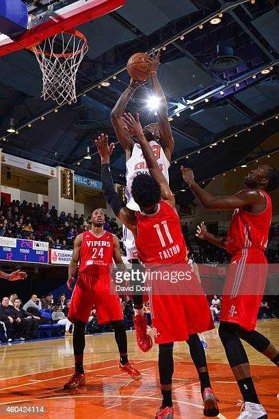Thanasis Antetokounmpo of the Westchester Knicks takes a shot against the Rio Grande Valley Vipers at the Westchester County Center on December 12...