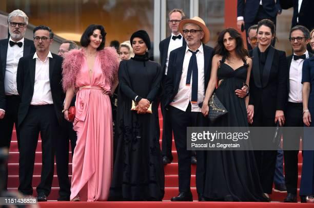 Thanassis Karathanos Raia Haider Fatma Hassan Al Remaihi Elia Suleiman Hanaa Issa and Yasmine Hamdan depart the screening of It Must Be Heaven during...
