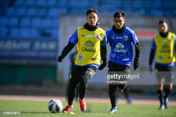 Thanawat Suengchittawon of Thailand U-23 seen during a training session prior to the AFC U-23 Championship 2022 qualifying round in Mongolia on 21-31...