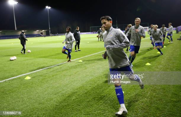Thanawat Suengchitthawon of Leicester City warms up ahead of the Premier League 2 match between Leicester City and Manchester United at Leicester...