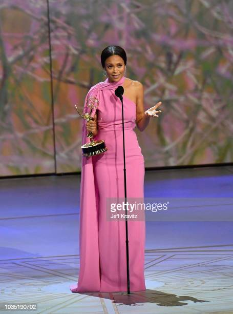 Thandie Newton accepts the award for Outstanding Supporting Actress in a Drama Series 'Westworld' onstage during the 70th Emmy Awards at Microsoft...