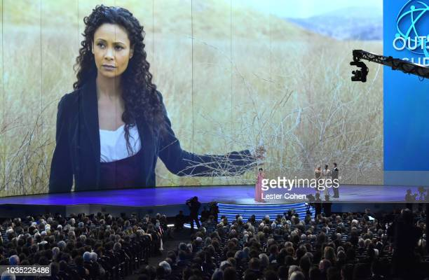 Thandie Newton accepts the award for Outstanding Supporting Actress in a Drama Series 'Westworld' from presenters Elisabeth Moss and Samira Wiley...