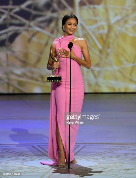 Thandie Newton accepts the Outstanding Supporting Actress in a Drama Series award for 'Westworld' onstage during the 70th Emmy Awards at Microsoft...