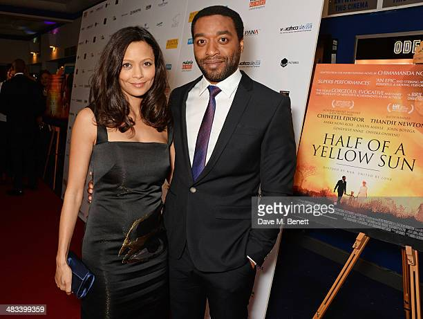 Thandie Newton and Chiwetel Ejiofor attend the UK Premiere of 'Half Of A Yellow Sun' at Odeon Streatham on April 8 2014 in London England