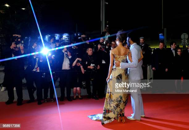 Thandie Newton and Donald Glover attends the screening of 'Solo A Star Wars Story' during the 71st annual Cannes Film Festival at Palais des...