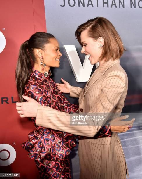 Thandie Newton and Evan Rachel Wood attends the Los Angeles Season 2 premiere of the HBO Drama Series WESTWORLD at The Cinerama Dome on April 16 2018...