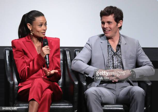 Thandie Newton and James Marsden attend the premiere of 'Westworld' during the 2018 Tribeca Film Festival at BMCC Tribeca PAC on April 19 2018 in New...