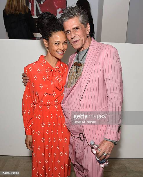 Thandie Newton and Judy Blame attend a VIP private view of Judy Blame Never Again and Artistic Difference at the ICA on June 28 2016 in London England