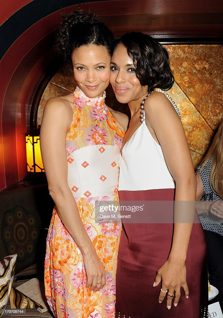 Thandie Newton (L) and Kerry Washington attend the Jimmy Choo & Esquire London Collections:Men opening night party at Loulou's, 5 Hertford Street, on June 16, 2013 in London, England.