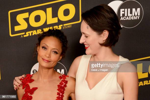 Thandie Newton and Phoebe WallerBridge attend a special screening of 'Solo A Star Wars Story' to celebrate the film's BFI Film Academy trainees at...