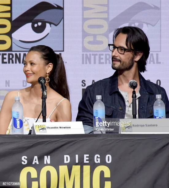 Thandie Newton and Rodrigo Santoro attend the 'Westworld' panel and QA Session during ComicCon International 2017 at San Diego Convention Center on...