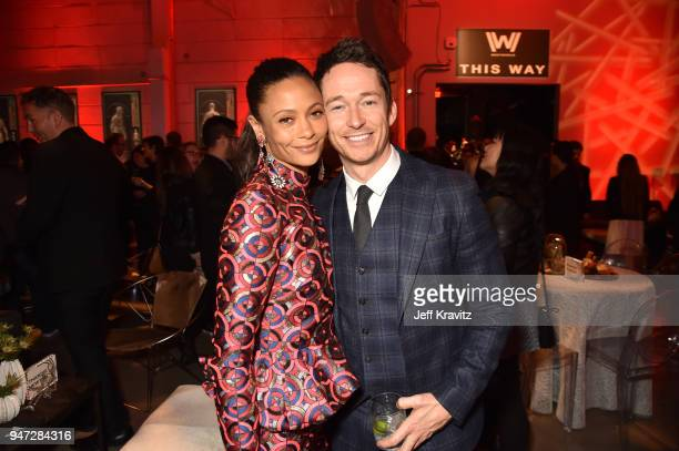 Thandie Newton and Simon Quarterman attends the Los Angeles Season 2 premiere of the HBO Drama Series WESTWORLD at The Cinerama Dome on April 16 2018...