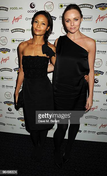 Thandie Newton and Stella McCartney arrive at the VIP screening of 'Food Inc' at the Curzon Cinema Mayfair on February 8 2010 in London England