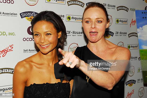 LR Thandie Newton and Stella McCartney attend the UK premiere for 'Food Inc' held the at The Curzon Mayfair on February 8 2010 in London England