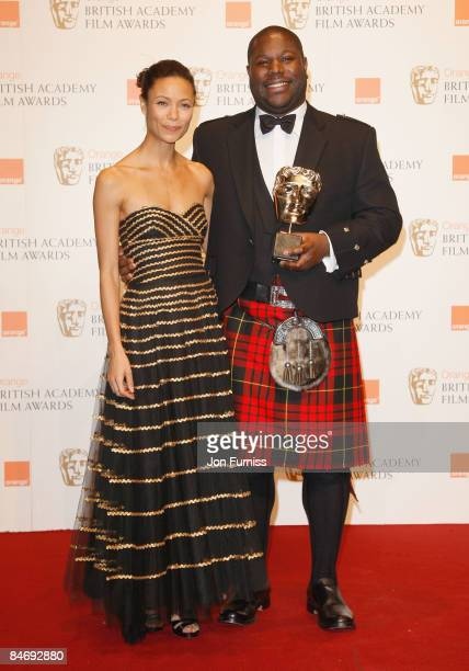Thandie Newton and Steve McQueen pose at the winner's board at The Orange British Academy Film Awards held at the Royal Opera House on February 8,...