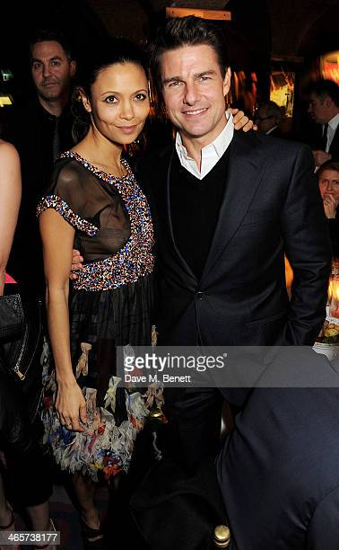 Thandie Newton and Tom Cruise attend the Charles Finch and Chanel PreBAFTA cocktail party and dinner at Annabel's on February 8 2013 in London England