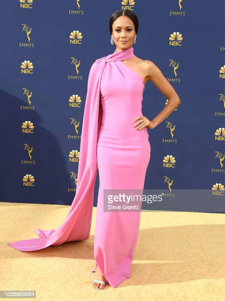 Thandie Newton arrives at the 70th Emmy Awards on September 17 2018 in Los Angeles California