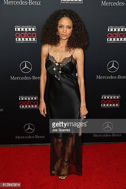Thandie Newton arrives at the MercedesBenz and African American Film Critics Association Oscar viewing party at Four Seasons Hotel Beverly Hills on...