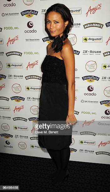 Thandie Newton arrives at the VIP screening of 'Food Inc' at the Curzon Cinema Mayfair on February 8 2010 in London England