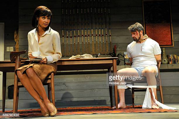 Thandie Newton as Paulina Salas and Anthony Calf as Roberto Miranda in Ariel Dorfman's 'Death and the Maiden' directed by Jeremy Herrin at the Harold...