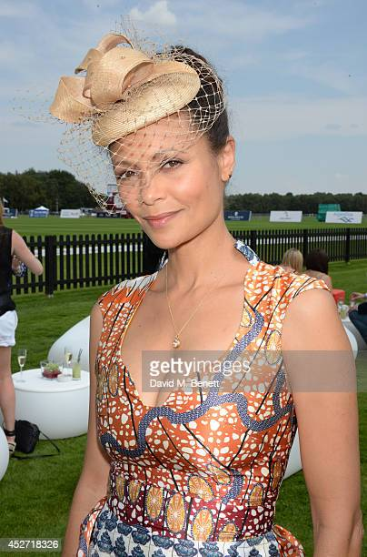 Thandie Newton attends Audi International at Guards Polo Club, near Windsor, to support England as it faces Argentina for the Coronation Cup on July...