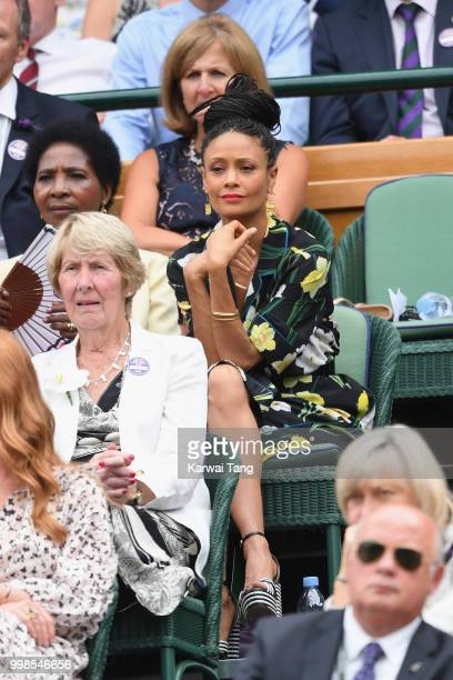 Thandie Newton attends day twelve of the Wimbledon Tennis Championships at the All England Lawn Tennis and Croquet Club on July 13 2018 in London...