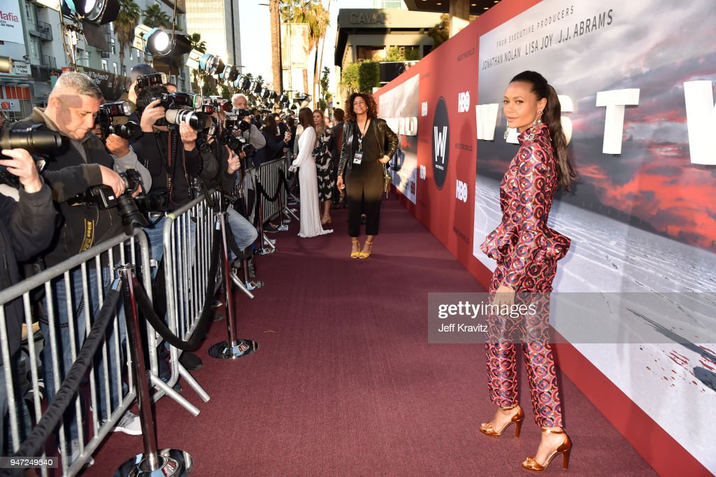 Thandie Newton attends the Los Angeles Season 2 premiere of the HBO Drama Series WESTWORLD at The Cinerama Dome on April 16, 2018 in Los Angeles, California.