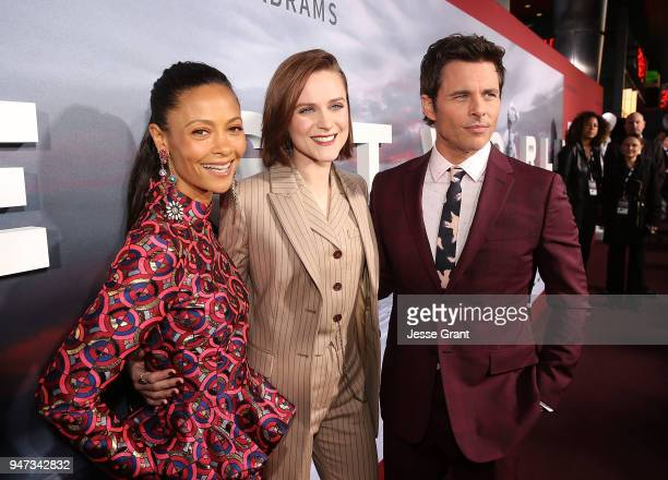 Thandie Newton Evan Rachel Wood and James Marsden attend the Premiere of HBO's Westworld Season 2 at The Cinerama Dome on April 16 2018 in Los...