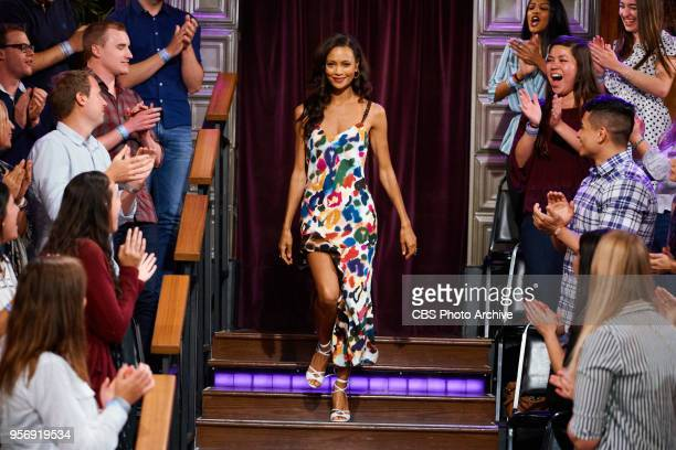 Thandie Newton greets the audience during 'The Late Late Show with James Corden' Wednesday May 9 2018 On The CBS Television Network