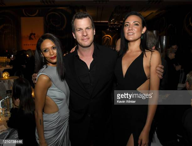 Thandie Newton Jonathan Nolan and Lisa Joy pose at the after party for the premiere of HBO's Westworld Season 3 at the Dolby Ballroom on March 05...