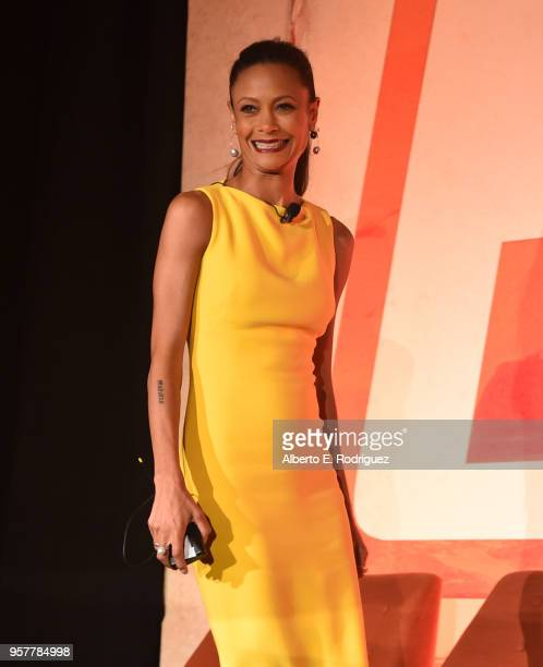 Thandie Newton participates in a press conference in Los Angeles on May 12 2018 for 'Solo A Star Wars Story' which opens in US theaters on May 25