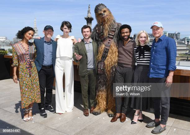 Thandie Newton Ron Howard Phoebe WallerBridge Alden Ehrenreich Chewbacca Donald Glover Emilia Clarke and Woody Harrelson attend Solo A Star Wars...
