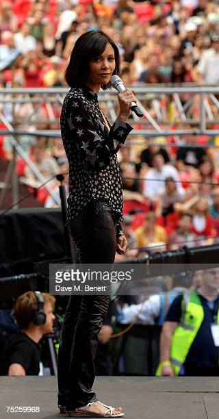 Thandie Newton talks on stage during the Live Earth London concert at Wembley Stadium on July 7 2007 in London England Live Earth is a 24hour...