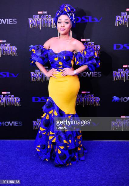 Thando Thabethe during the Black Panther movie premiere at Montecasino on February 16 2018 in Fourways South Africa Your culture in South Africa...