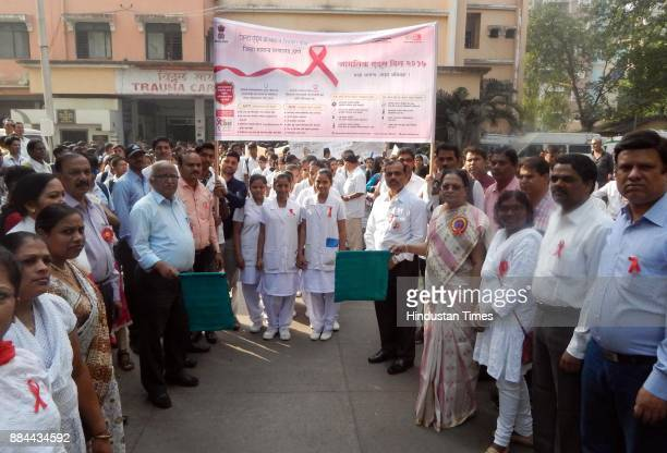 Thane Civil Hospital organized rally from civil Hospital to Thane railway Station on the occasion of World AIDS Day on December 1 2017 in Mumbai...