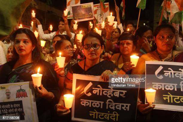 Thane Congress Workers Candle light march protest against one year complete Demonetisation BJP Govt congress office to Thane Railway Station on...