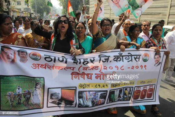Thane Congress workers protest against rising prices of petrol and diesel at Thane on February 2 2018 in Mumbai India During the protest Congress...