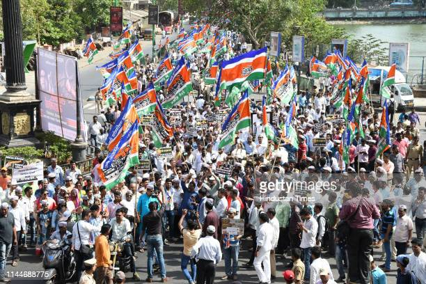 Thane MNS workers with farmers protest against Modi Govt they march from Goandevi Maidan to Collector office Thane on May 17 2019 in Mumbai India MNS...
