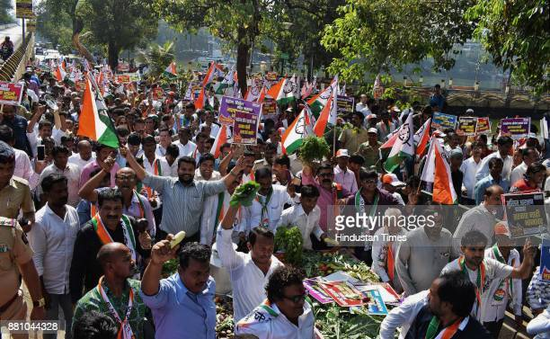 Thane NCP Party workers protest rally against price hike in all goods by BJP government from Gadkari Thane to Thane collector office on November 27...