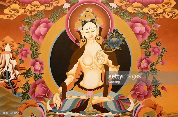 Thangka depicting White Tara goddess Buddhist symbol of long life