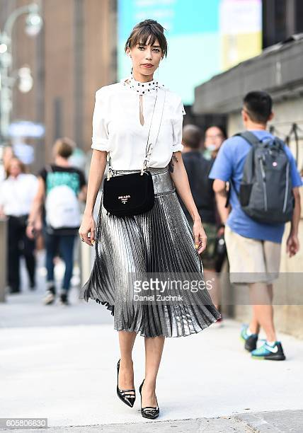 Thania Peck is seen outside the Anna Sui show during New York Fashion Week Spring 2017 on September 14 2016 in New York City