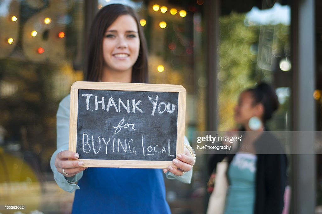 Thank you for buying local : Stock Photo
