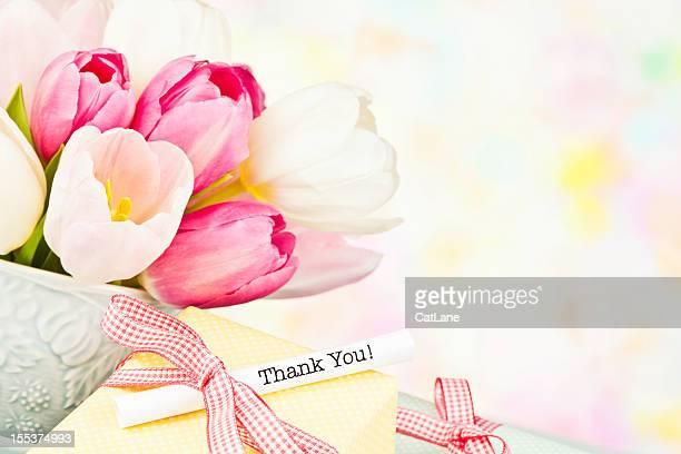 Vielen Dank Nachricht in Tasse Tulpen